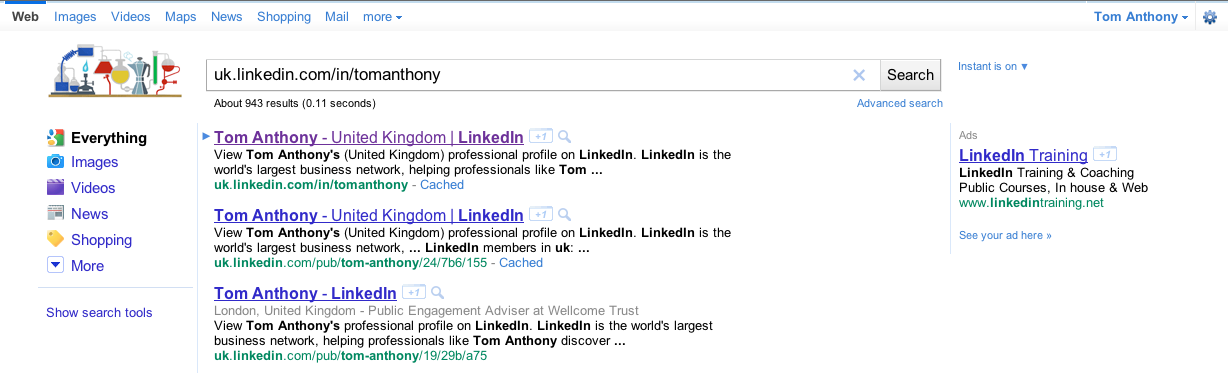 Google SERPs of my LinkedIn profile without +1