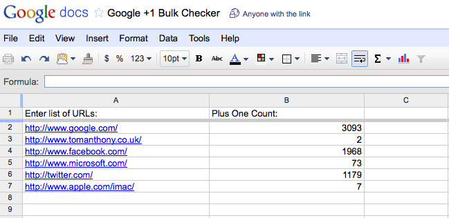 Google Spreadsheet showing Google +1 Counts