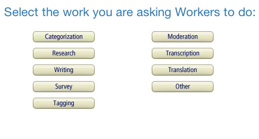 categories of mTurk work
